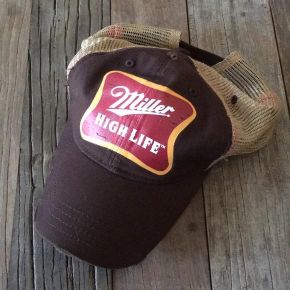 073743a4c Miller High Life Beer Vintage Trucker Ball Cap Hat